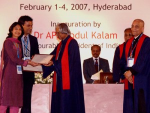 Dr. Debraj Shome being awarded by The Honorable Dr. A. P. J. Abdul Kalam