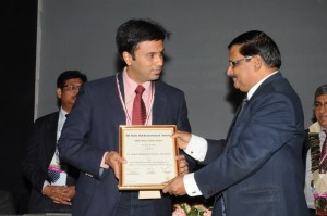 Dr. Debraj Shome being awarded the Colonel Rangachari Award